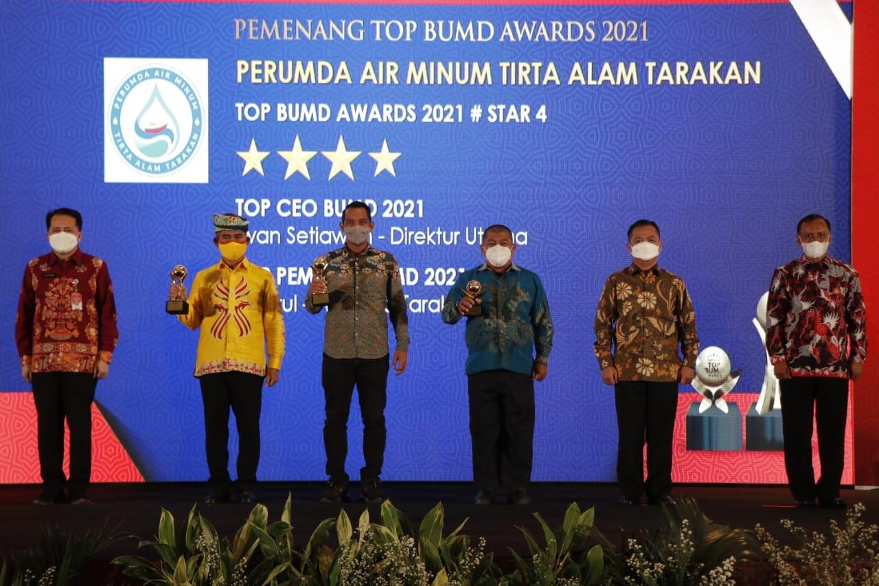 Inovasi Sistem IT, PDAM Tarakan Sabet TOP BUMD Awards 2021 Bintang 4